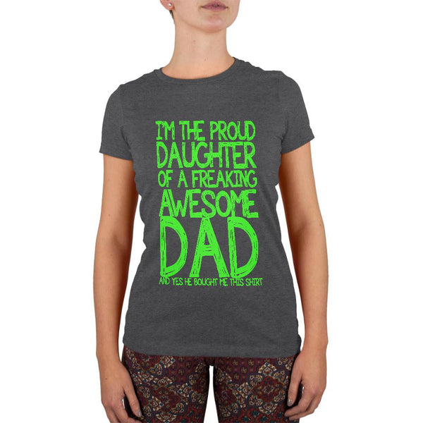 Daughter Awesome Dad Funny Dark Heather Juniors Soft T-Shirt