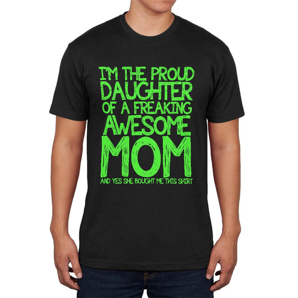 Daughter Awesome Mom Funny Black Adult Soft T-Shirt