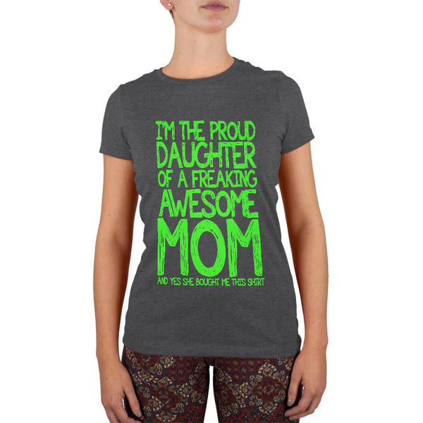 Daughter Awesome Mom Funny Dark Heather Juniors Soft T-Shirt