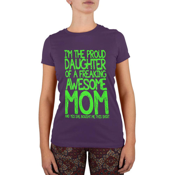 Daughter Awesome Mom Funny Purple Juniors Soft T-Shirt
