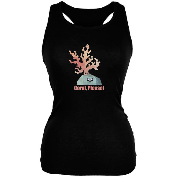 Coral Please Black Juniors Soft Tank Top