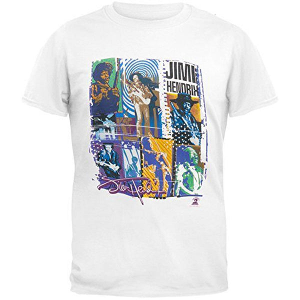 Jimi Hendrix - Guitar Photo Collage Soft Adult T-Shirt