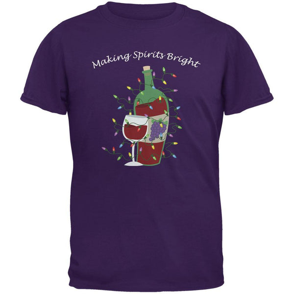 Christmas Making Spirits Bright Purple Adult T-Shirt