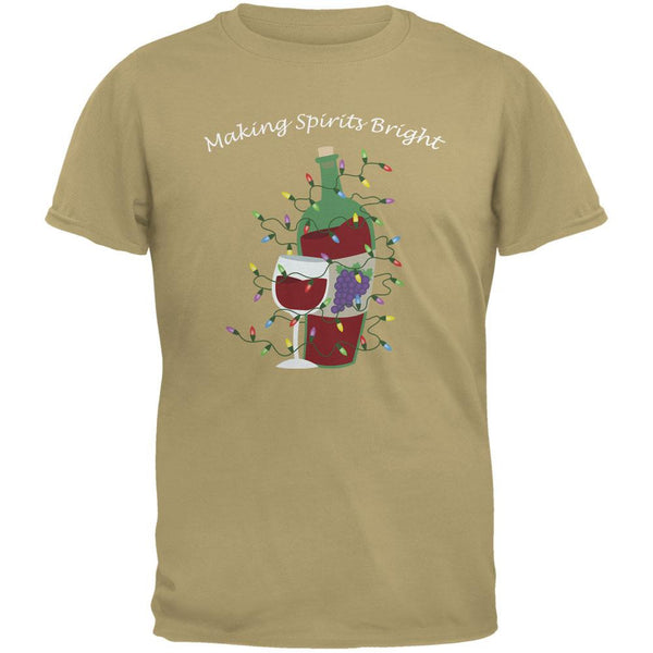 Christmas Making Spirits Bright Tan Adult T-Shirt