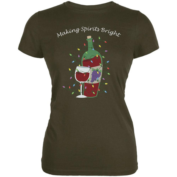 Christmas Making Spirits Bright Army Juniors Soft T-Shirt