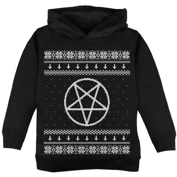 White Satanic Pentagram Ugly Christmas Sweater Black Toddler Hoodie