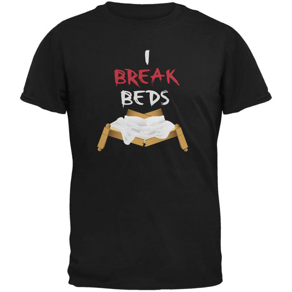Valentines I Break Beds Black Adult T-Shirt