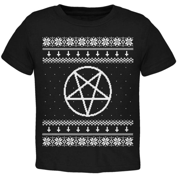 White Satanic Pentagram Ugly Christmas Sweater Black Toddler T-Shirt