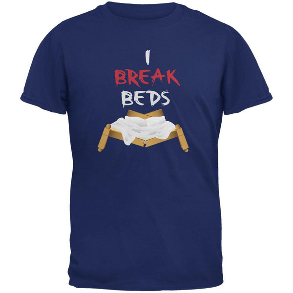 Valentines I Break Beds Metro Blue Adult T-Shirt