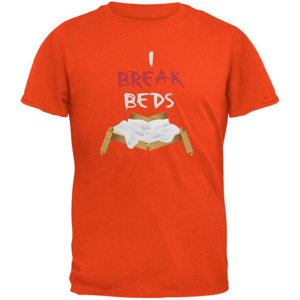 Valentines I Break Beds Orange Adult T-Shirt
