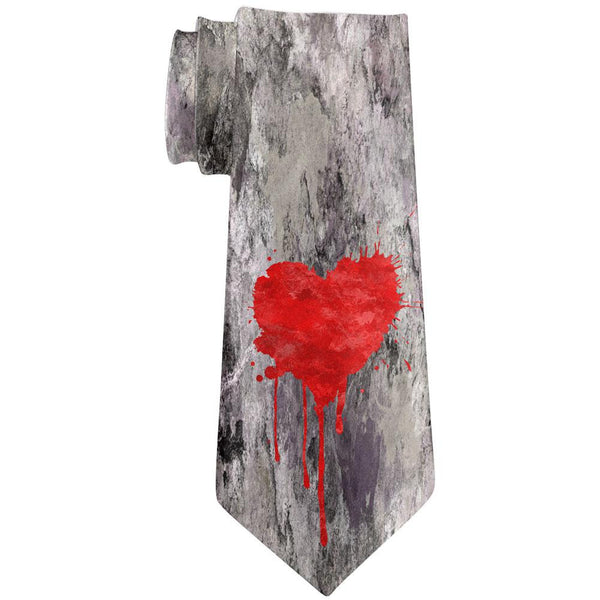 Valentines Single Painted Heart All Over Neck Tie
