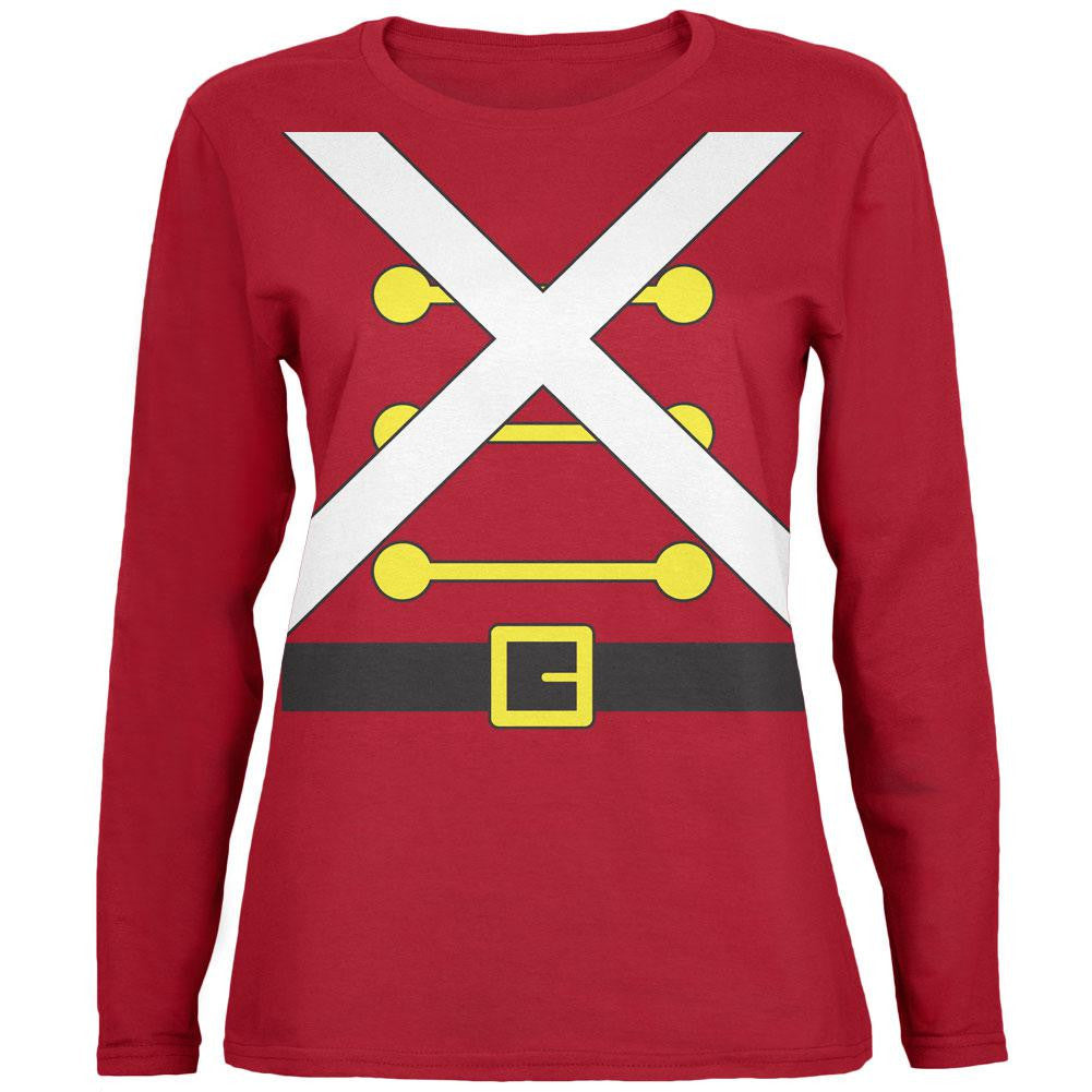 christmas toy soldier costume red womens long sleeve t shirt