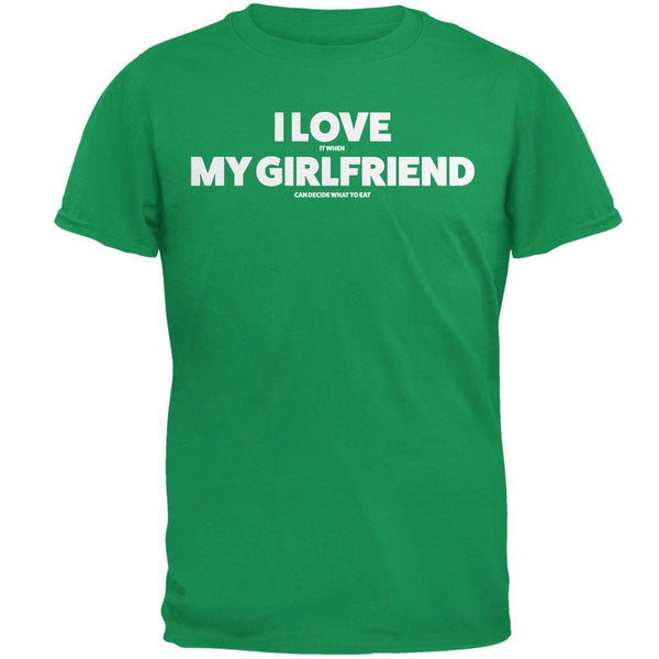 Valentines I Love My Girlfriend What to Eat Irish Green Adult T-Shirt