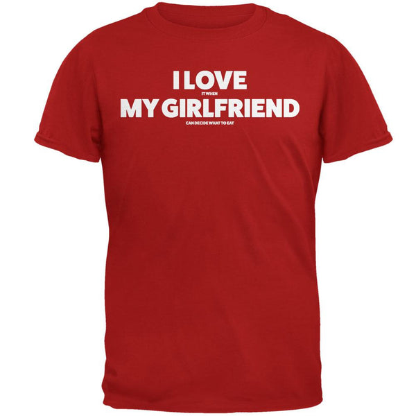 Valentines I Love My Girlfriend What to Eat Red Adult T-Shirt