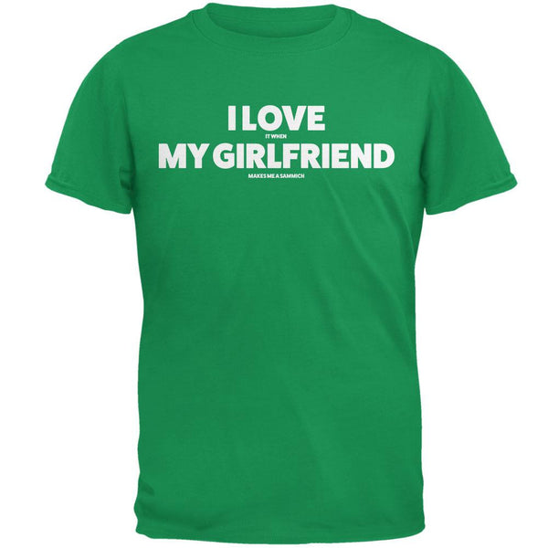 Valentines I Love My Girlfriend Sammich Irish Green Adult T-Shirt