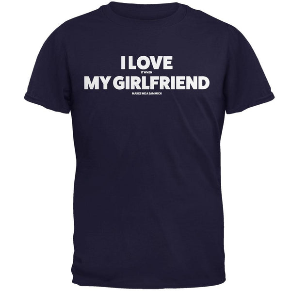 Valentines I Love My Girlfriend Sammich Navy Adult T-Shirt