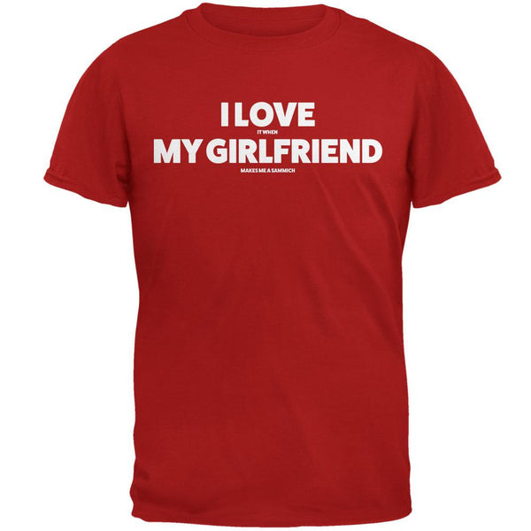 Valentines I Love My Girlfriend Sammich Red Adult T-Shirt