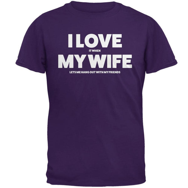 Valentines I Love My Wife Friends Purple Adult T-Shirt