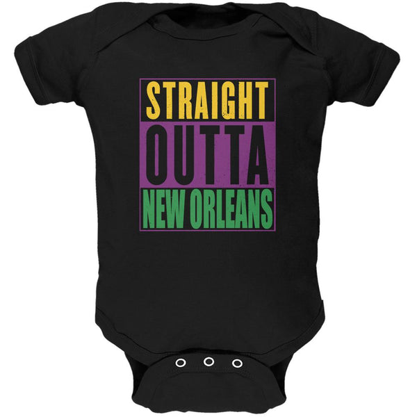 Mardi Gras Straight Outta New Orleans Black Soft Baby One Piece
