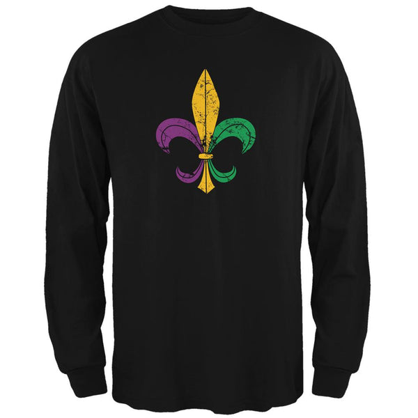 Mardi Gras Fleur De Lis Distressed Black Adult Long Sleeve T-Shirt