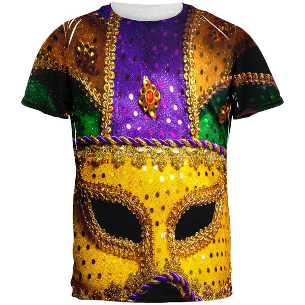 Mardi Gras Large Mask All Over Adult T-Shirt