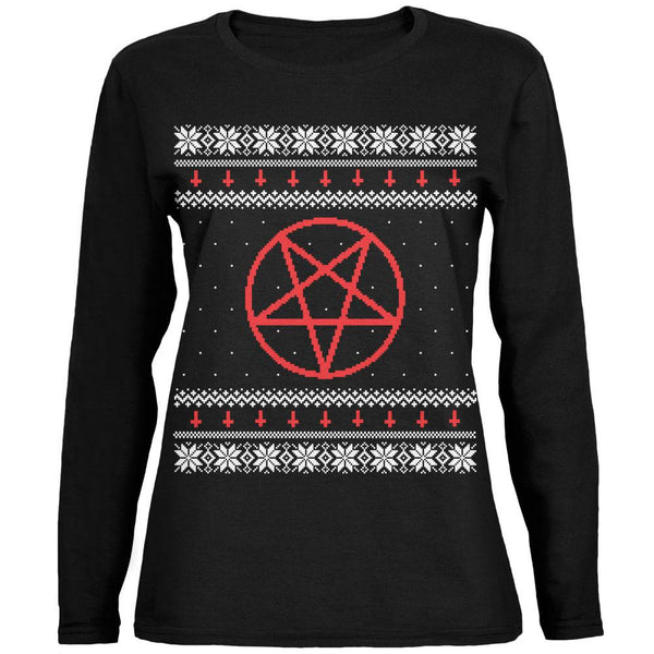 Satanic Pentagram Ugly Christmas Sweater Black Womens Long Sleeve T-Shirt