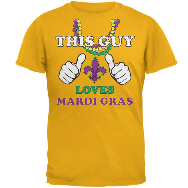 This Guy Loves Mardi Gras Gold Adult T-Shirt