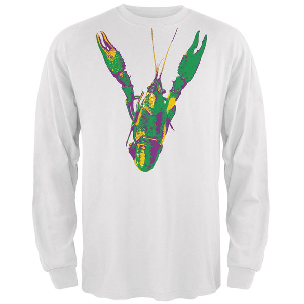 Mardi Gras Crawfish White Adult Long Sleeve T-Shirt