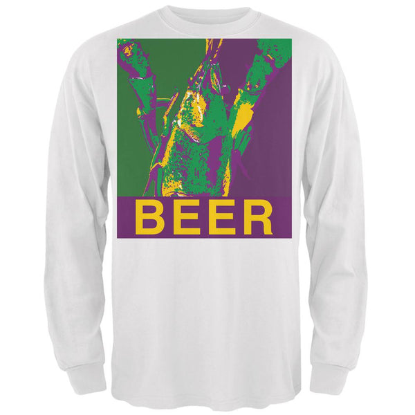 Mardi Gras Crawfish Beer White Adult Long Sleeve T-Shirt