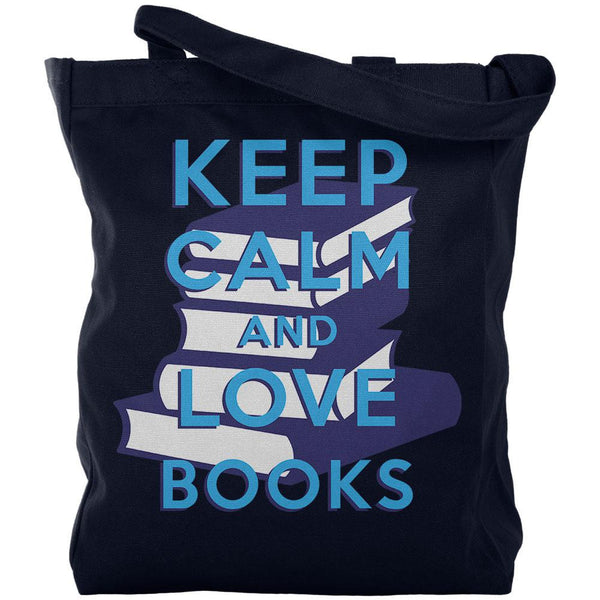 Keep Calm & Love Books Navy Canvas Tote Bag