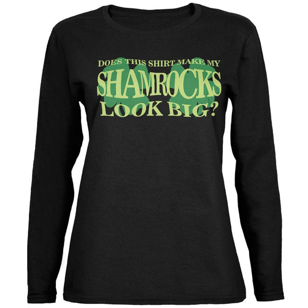 St. Patrick's Day Big Irish Shamrocks Black Womens Long Sleeve T-Shirt
