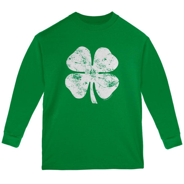 St. Patrick's Day Big White Shamrock Green Youth Long Sleeve T-Shirt