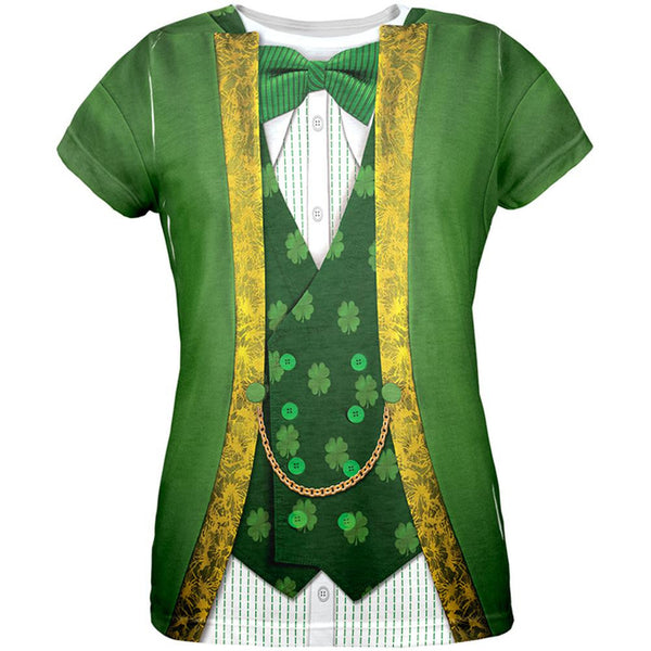 St. Patricks Day Leprechaun Costume All Over Womens T-Shirt