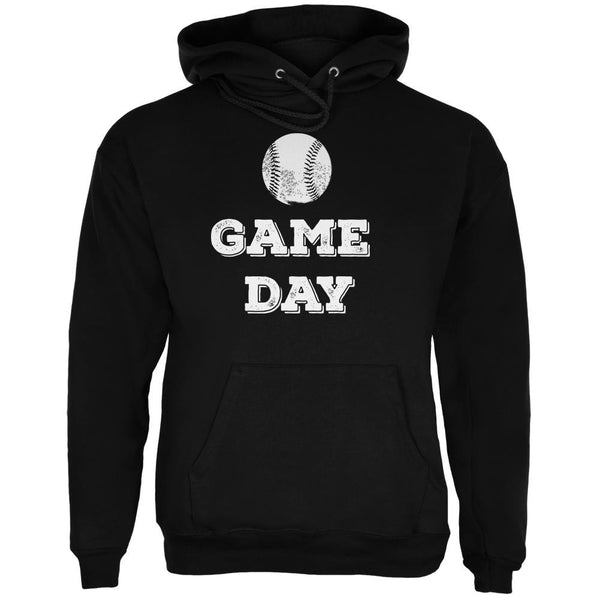 Game Day Baseball Black Adult Hoodie