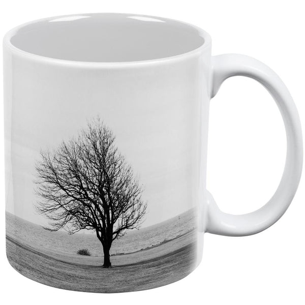 Barren Tree at Winter's Edge White All Over Coffee Mug