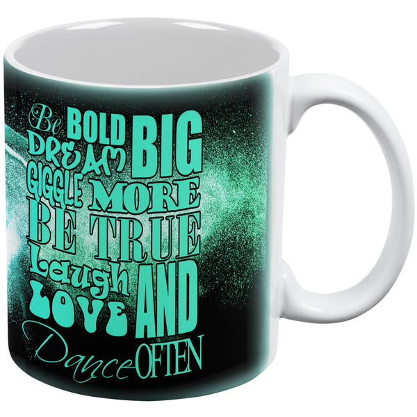 Laugh Love Dance Often Inspiration White All Over Coffee Mug