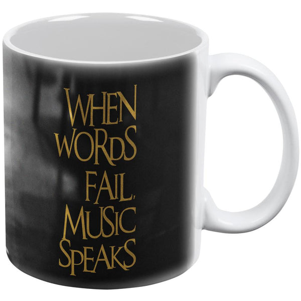 Words Speak Music Fails White All Over Coffee Mug