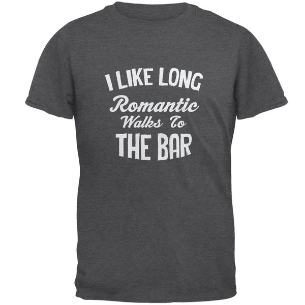 Long Romantic Walks To The Bar Dark Heather Adult T-Shirt