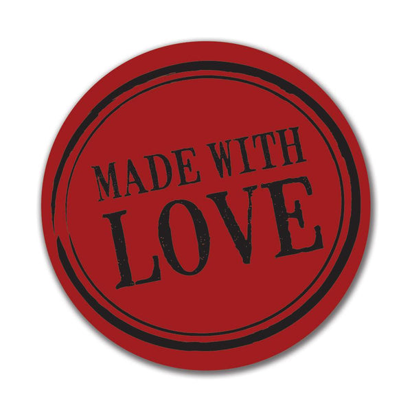Made With Love 4x4in. Round Decal Sticker