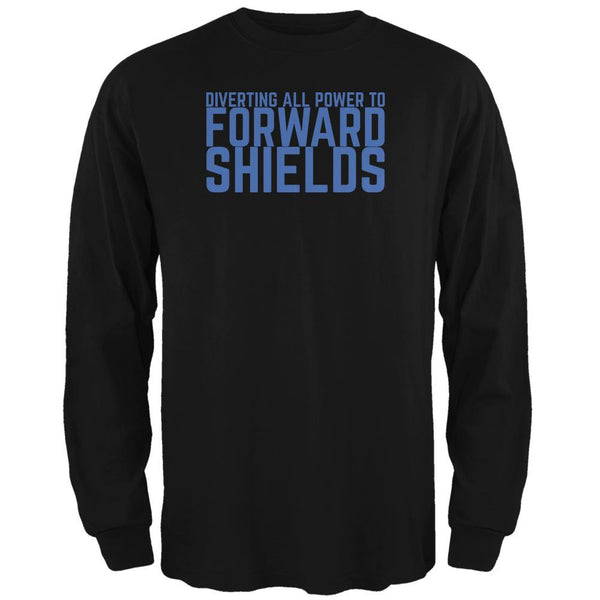 Diverting Power Forward Shields Funny Black Adult Long Sleeve T-Shirt