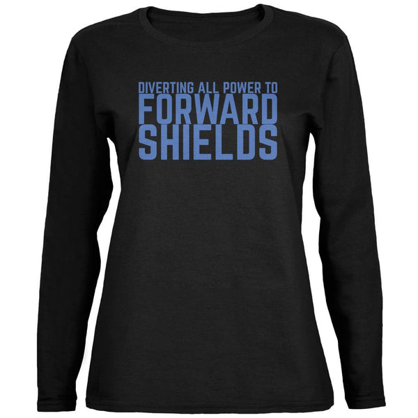 Diverting Power Forward Shields Funny Black Womens Long Sleeve T-Shirt