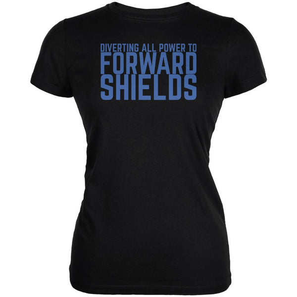 Diverting Power Forward Shields Funny Black Juniors Soft T-Shirt
