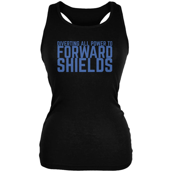 Diverting Power Forward Shields Funny Black Juniors Soft Tank Top