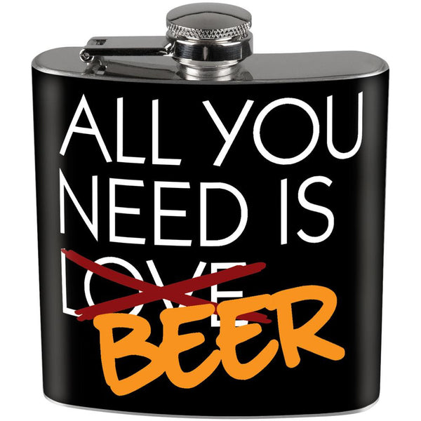 Valentine's Day - All You Need Is Beer Full Wrap Steel Flask