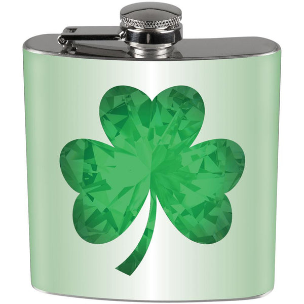 St. Patricks Day - Jeweled Shamrock Full Wrap Steel Flask
