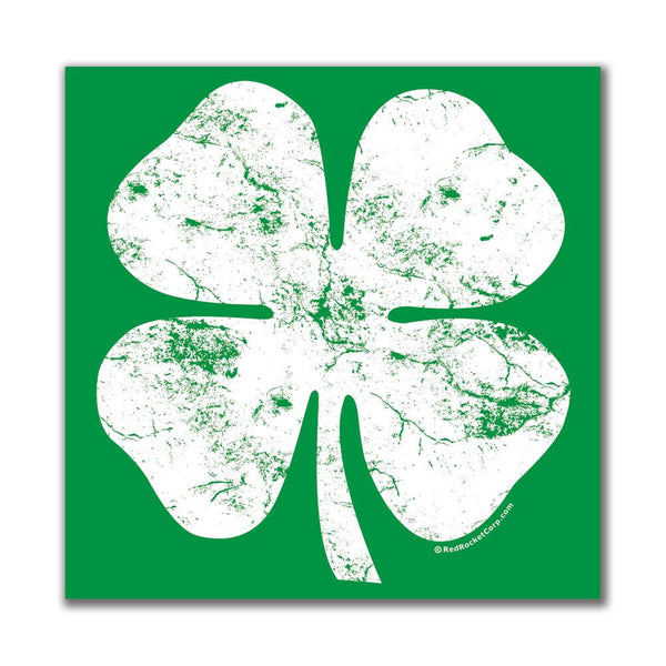 St. Patricks Day - Big White Shamrock 4x4in. Square Decal Sticker