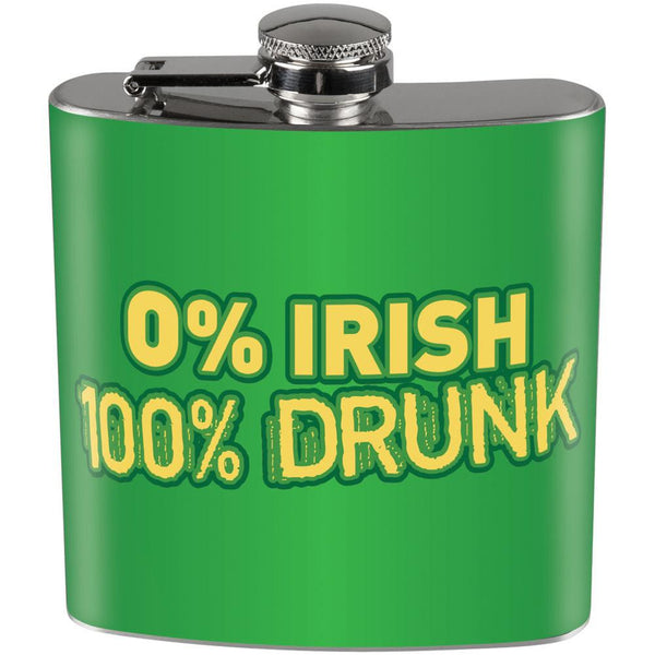 0% Irish, 100% Drunk stainless steel flask -  St. Patrick's Day