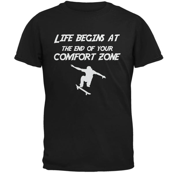 Comfort Zone Skateboarding Black Adult T-Shirt