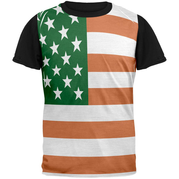 St Patricks Irish American Flag Adult Black Back T-Shirt