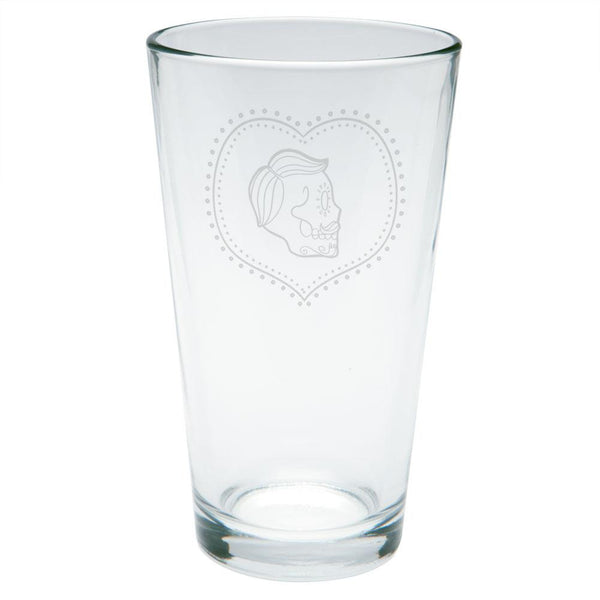 Valentines Male Sugar Skull Etched Pint Glass